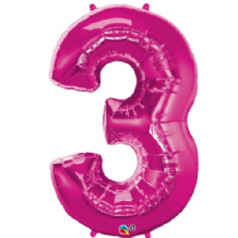 "Pink Number 3 Balloon - Foil Number Balloon 1pc (34"" Qualatex)"